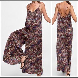 NWT Zara wide leg paisley jumpsuit size small